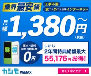 ポケットwifi,WiMAX,カシモ