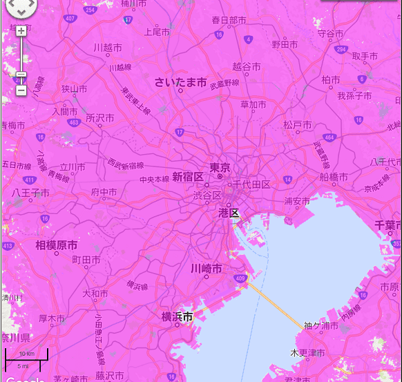 ポケットWiFi,WiMAX回線,首都圏ヒートマップ