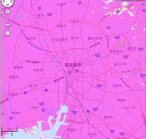 ポケットWiFi,WiMAX回線,名古屋周辺ヒートマップ