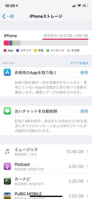 iPhone,空き容量